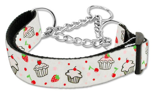 Cupcakes Nylon Ribbon Collar Martingale Large White - 125-019M LGWT