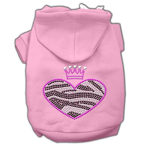 Zebra Heart Rhinestone Hoodies Pink L (14)