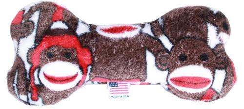 "6"" Plush Bone Dog Toy Sock Monkey"