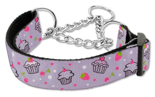 Cupcakes Nylon Ribbon Collar Martingale Large Purple - 125-019M LGPR