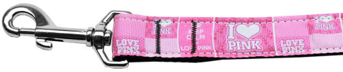I Heart Pink  Nylon Dog Leash 6 Foot