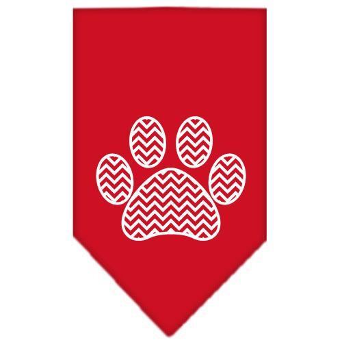 Chevron Paw Screen Print Bandana Red Small