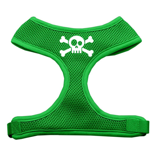 Skull Crossbones Screen Print Soft Mesh Harness Emerald Green Small
