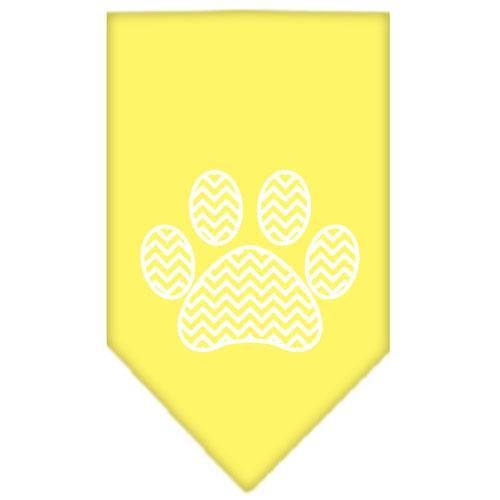 Chevron Paw Screen Print Bandana Yellow Small