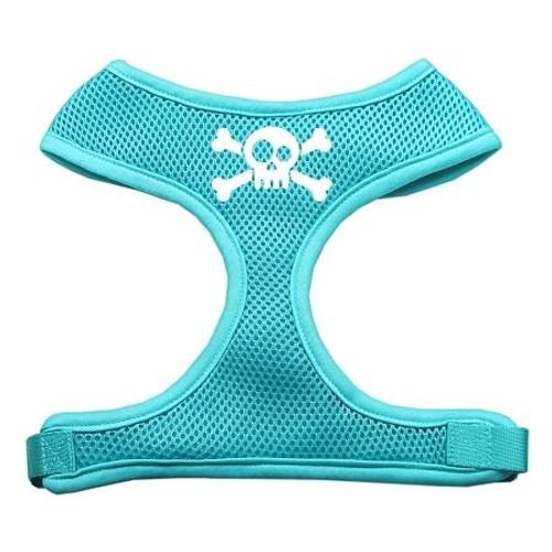 Skull Crossbones Screen Print Soft Mesh Harness Aqua Small