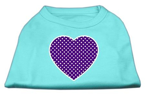 Purple Swiss Dot Heart Screen Print Shirt Aqua Sm (10)