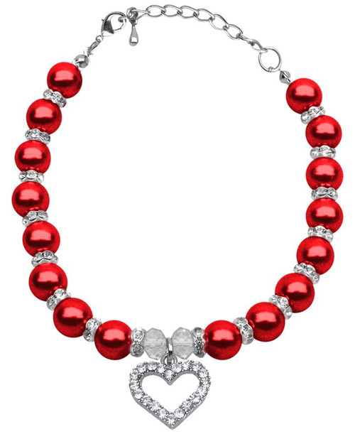 Heart And Pearl Necklace Red Md (8-10)