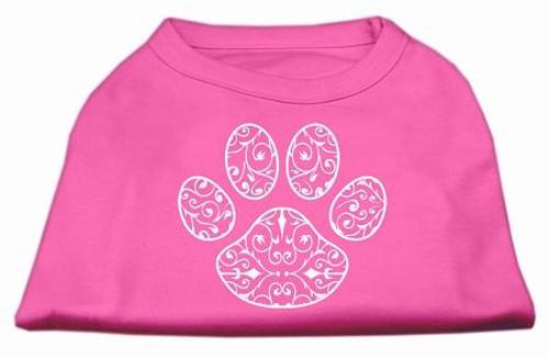 Henna Paw Screen Print Shirt Bright Pink Sm (10)