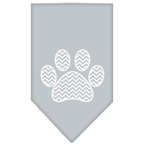 Chevron Paw Screen Print Bandana Grey Small
