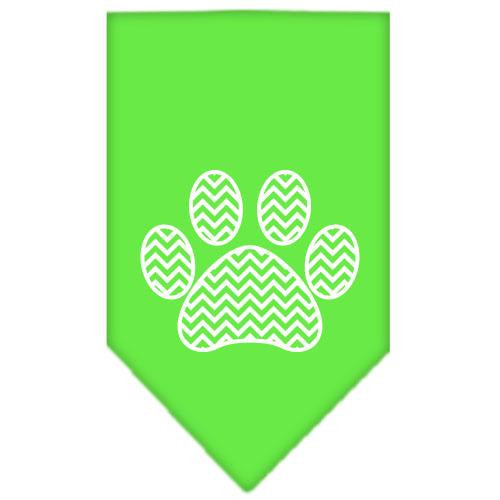 Chevron Paw Screen Print Bandana Lime Green Small