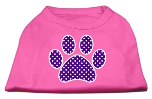 Purple Swiss Dot Paw Screen Print Shirt Bright Pink Lg (14)