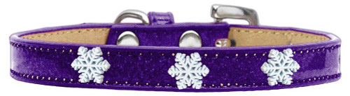 Snowflake Widget Dog Collar Purple Ice Cream Size 14