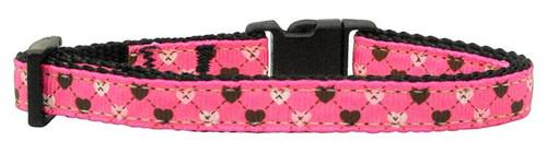 Argyle Hearts Nylon Ribbon Collar Bright Pink Cat Safety