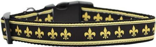 Black And Gold Fleur De Lis Nylon Dog Collars Large
