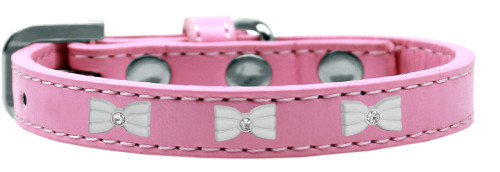 White Bow Widget Dog Collar Light Pink Size 20