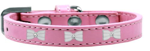 White Bow Widget Dog Collar Light Pink Size 16