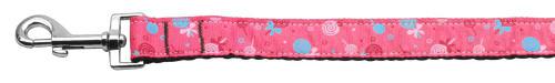 Lollipops Nylon Ribbon Leash Bright Pink 1 Inch Wide 4ft Long