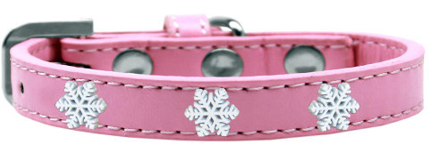 Snowflake Widget Dog Collar Light Pink Size 16