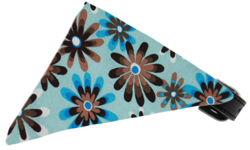 Baby Blue Crazy Daisies Bandana Pet Collar Black Size 16