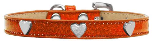 Silver Heart Widget Dog Collar Orange Ice Cream Size 14