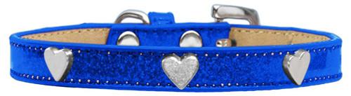 Silver Heart Widget Dog Collar Blue Ice Cream Size 14