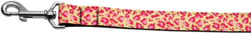 Tan And Pink Leopard Nylon Dog Leashes 6 Foot Leash