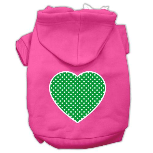 Green Swiss Dot Heart Screen Print Pet Hoodies Bright Pink Size Xl (16)