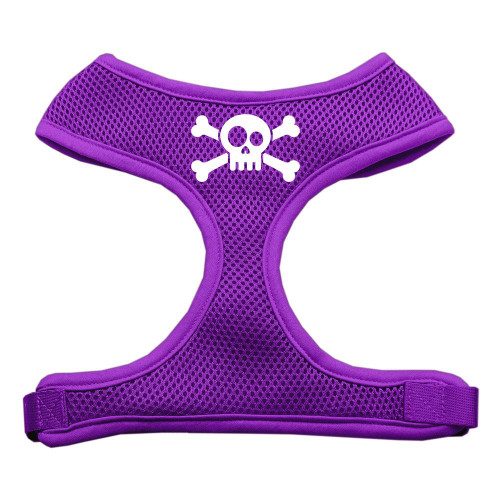 Skull Crossbones Screen Print Soft Mesh Harness Purple Small