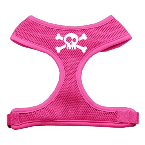 Skull Crossbones Screen Print Soft Mesh Harness Pink Small