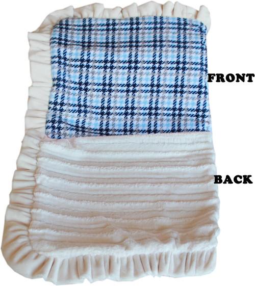 Luxurious Plush Pet Blanket Blue Plaid 1/2 Size