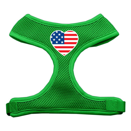 Heart Flag Usa Screen Print Soft Mesh Harness Emerald Green Extra Large