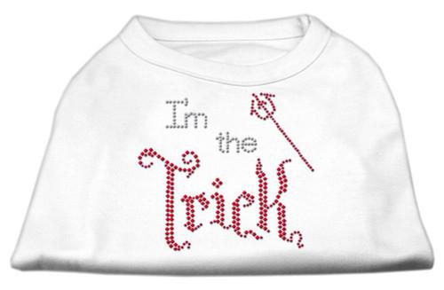 I'm The Trick Rhinestone Dog Shirt White Med (12)