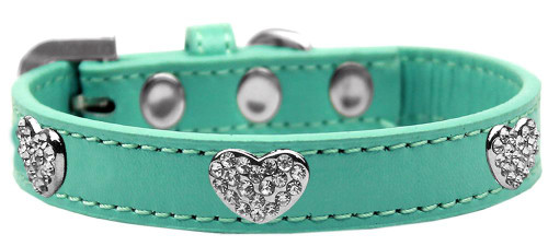 Crystal Heart Dog Collar Aqua Size 16
