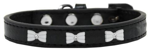 White Bow Widget Dog Collar Black Size 20