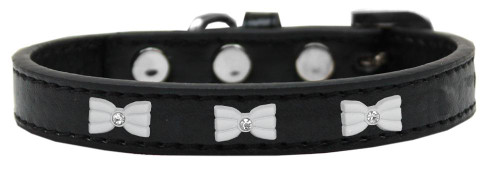 White Bow Widget Dog Collar Black Size 14
