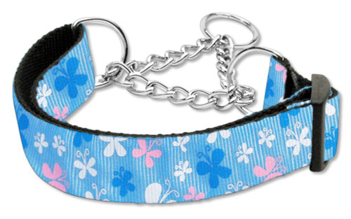 Butterfly Nylon Ribbon Collar Martingale Blue Large