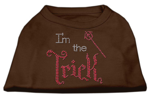 I'm The Trick Rhinestone Dog Shirt Brown Med (12)