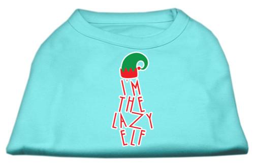 Lazy Elf Screen Print Pet Shirt Aqua Lg (14)