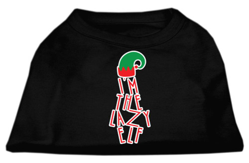 Lazy Elf Screen Print Pet Shirt Black Lg (14)