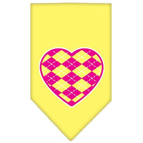 Argyle Heart Pink Screen Print Bandana Yellow Large