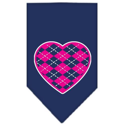 Argyle Heart Pink Screen Print Bandana Navy Blue Large