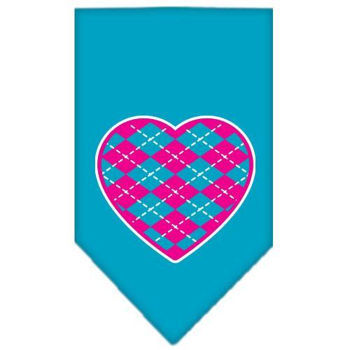 Argyle Heart Pink Screen Print Bandana Turquoise Large