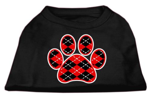 Argyle Paw Red Screen Print Shirt Black Xs (8)
