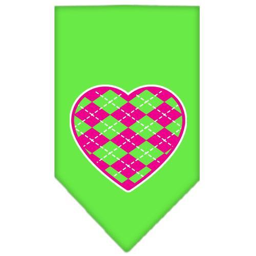 Argyle Heart Pink Screen Print Bandana Lime Green Large