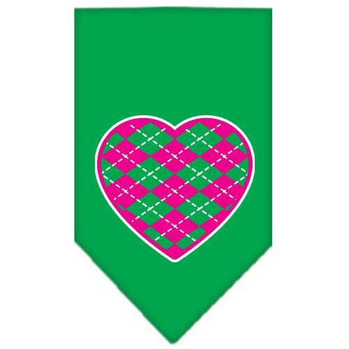 Argyle Heart Pink Screen Print Bandana Emerald Green Large