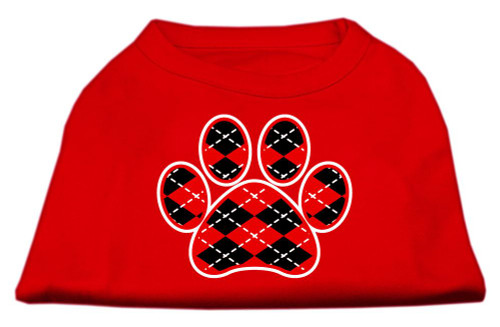 Argyle Paw Red Screen Print Shirt Red Xs (8)