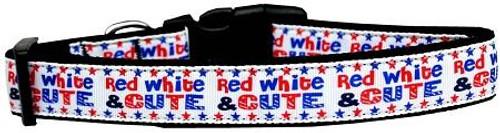 Red, White, And Cute! Nylon Dog Collar Medium