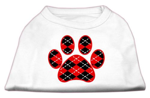 Argyle Paw Red Screen Print Shirt White Xs (8)