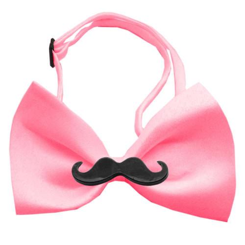 Black Moustache Bubblegum Pink Bow Tie