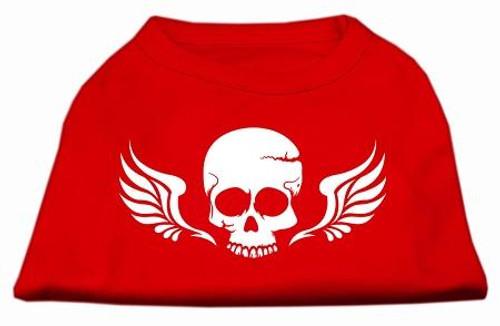 Skull Wings Screen Print Shirt Red Med (12)